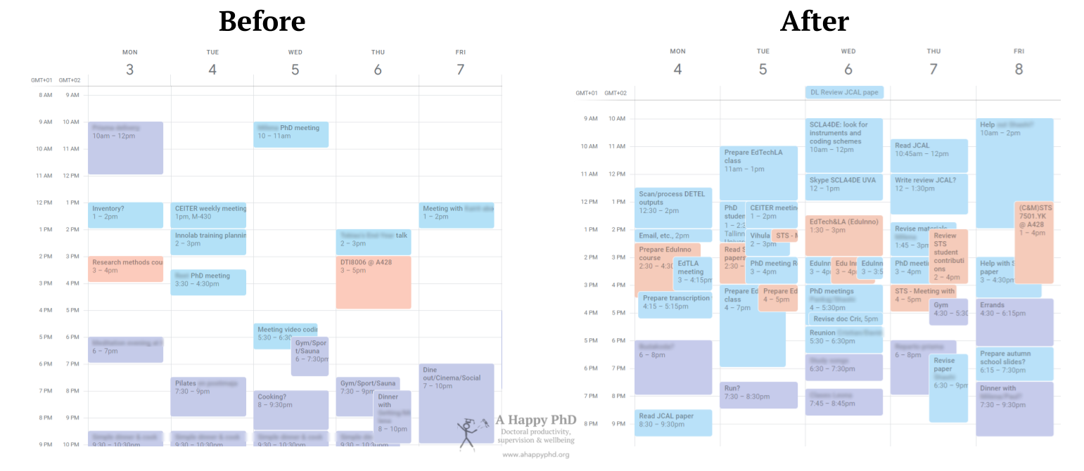 Side-by-side comparison of how my calendar looked before and after I started implementing the calendar trick