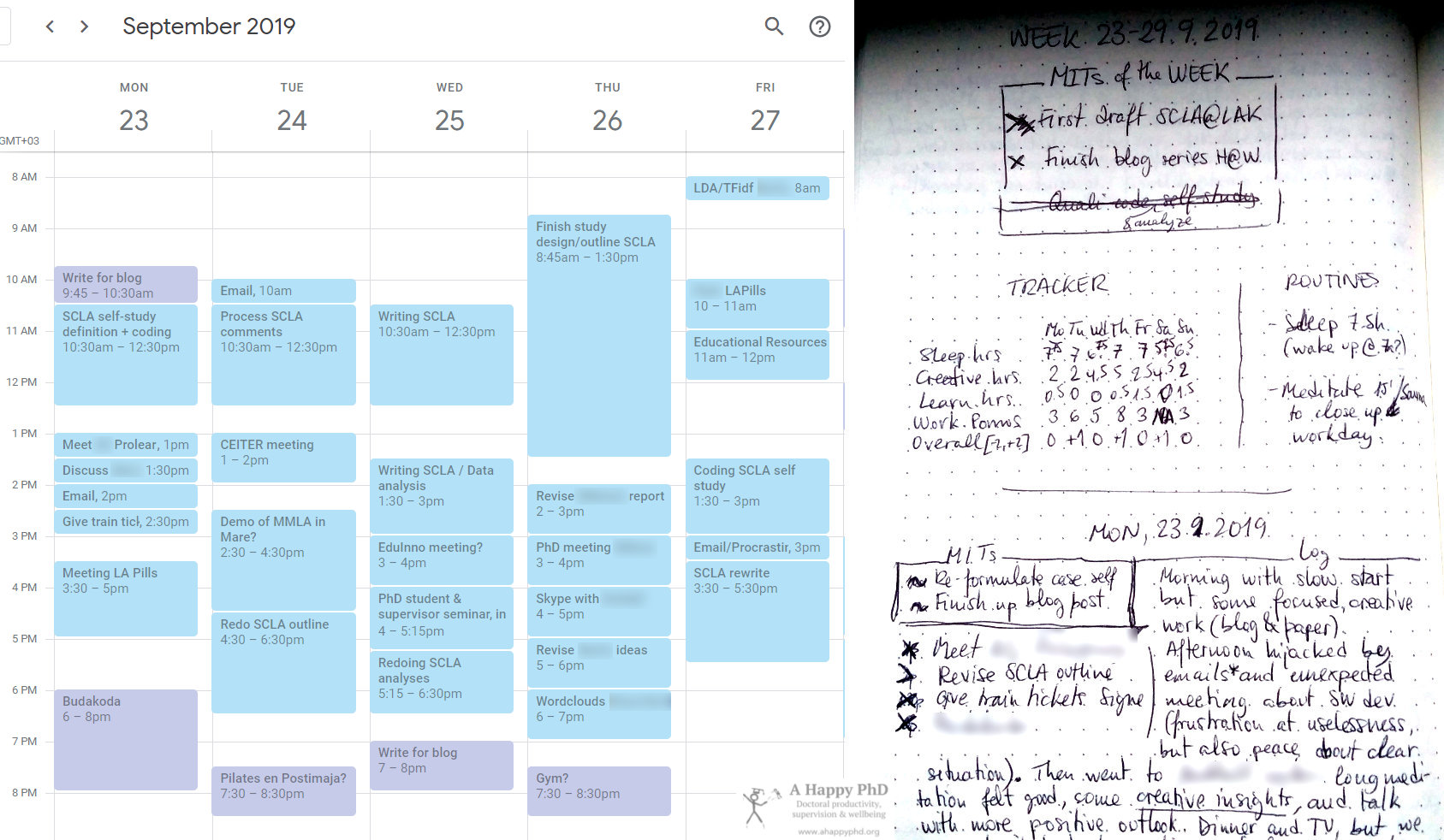 Examples of calendar and paper notes/to-dos, for a week that is ending