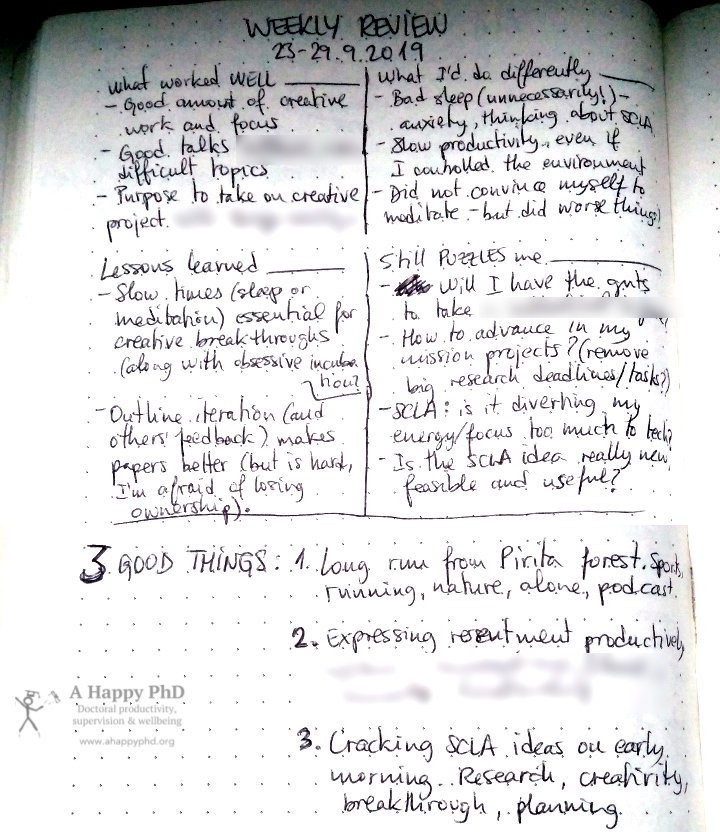 One of my retrospectives, written in a paper notebook